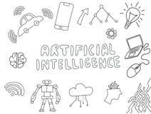 Τεχνητή νοημοσύνη AI doodle με το διάνυσμα ουσίας τεχνολογίας διανυσματική απεικόνιση