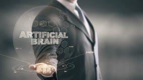 Τεχνητός εγκέφαλος με την έννοια επιχειρηματιών ολογραμμάτων απόθεμα βίντεο