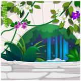 Τεχνητός κήπος των τροπικών λουλουδιών και του ντεκόρ πετρών Αφίσα στο θέμα της φύσης Ανάπτυξη των εγκαταστάσεων στο θερμοκήπιο ελεύθερη απεικόνιση δικαιώματος