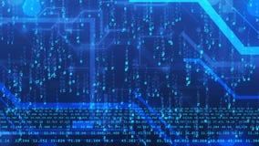 Τεχνητός κυβερνοχώρος διάνοιας με τα μπλε ψηφία και τις γραμμές διανυσματική απεικόνιση