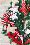Τεχνητός χειροποίητος στεφανιών Χριστουγέννων Στοκ Φωτογραφία