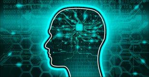 Τεχνητό έμβλημα μυαλού AI υψηλής τεχνολογίας διάνοιας Στοκ Φωτογραφία