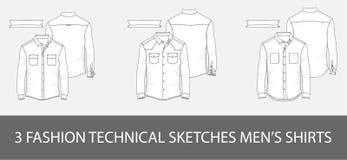 3 τεχνικά πουκάμισα ατόμων ` s σκίτσων μόδας στο διάνυσμα απεικόνιση αποθεμάτων