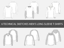 Τεχνικά σκίτσα μόδας των μακριών μπλουζών μανικιών ατόμων ` s απεικόνιση αποθεμάτων