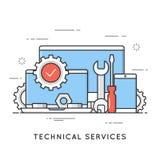 Τεχνικές υπηρεσίες, επισκευή υπολογιστών, υποστήριξη Επίπεδο styl τέχνης γραμμών διανυσματική απεικόνιση