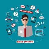 Τεχνική υπηρεσία υποστήριξης ηλεκτρονικού ταχυδρομείου με το άτομο Υπηρεσία online διανυσματική απεικόνιση