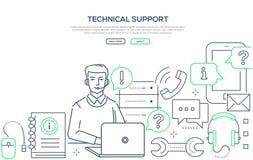 Τεχνική υποστήριξη - σύγχρονο έμβλημα Ιστού ύφους σχεδίου γραμμών απεικόνιση αποθεμάτων