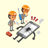 Τεχνικοί κινούμενων σχεδίων και ένα σπασμένο smartphone ελεύθερη απεικόνιση δικαιώματος