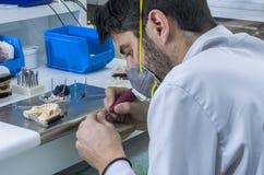 Τεχνικός που εργάζεται με το όργανο άρθρωσης στη δομή μετάλλων, κορώνα ή Στοκ εικόνα με δικαίωμα ελεύθερης χρήσης