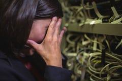 Τεχνικός που παίρνει τονισμένος πέρα από τη συντήρηση κεντρικών υπολογιστών Στοκ φωτογραφία με δικαίωμα ελεύθερης χρήσης