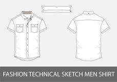 Τεχνικό πουκάμισο ατόμων σκίτσων μόδας με τα κοντά μανίκια στο διάνυσμα ελεύθερη απεικόνιση δικαιώματος