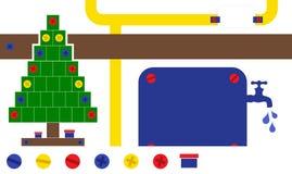 Τεχνικό πρότυπο καρτών Χριστουγέννων βιομηχανίας Στοκ Φωτογραφίες