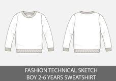 Τεχνικό σκίτσο μόδας για την μπλούζα ετών αγοριών 2-6 διανυσματική απεικόνιση