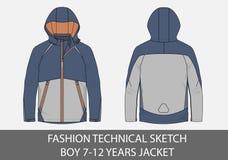 Τεχνικό σκίτσο μόδας για το σακάκι ετών αγοριών 7-12 με την κουκούλα απεικόνιση αποθεμάτων