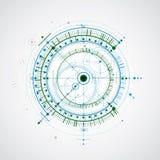 Τεχνικό σχεδιάγραμμα, μπλε και πράσινα διανυσματικά ψηφιακά WI υποβάθρου διανυσματική απεικόνιση