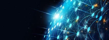 Τεχνολογία επικοινωνιών και Διαδίκτυο παγκοσμίως για την επιχειρησιακή έννοια στοκ φωτογραφία