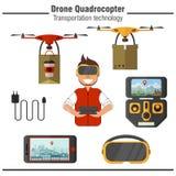 Τεχνολογία μεταφορών Quadrocopter κηφήνων Σύνολο απλών επίπεδων εικονιδίων απεικόνιση αποθεμάτων