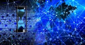 Τεχνολογία παγκόσμιων δικτύων με το ξύλινο υπόβαθρο χρονικής ώρας κλεψυδρών επικοινωνία τεχνολογίας ελεύθερη απεικόνιση δικαιώματος