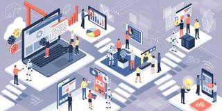 Τεχνολογία πληροφοριών, επικοινωνία και AI διανυσματική απεικόνιση