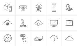 Τεχνολογία σύννεφων και κινητό σύνολο εικονιδίων περιλήψεων συσκευών συρμένο χέρι doodle διανυσματική απεικόνιση