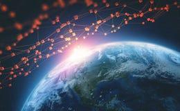 Τεχνολογία Blockchain Μεγάλο παγκόσμιο δίκτυο στοιχείων Τρισδιάστατη απεικόνιση πλανήτη Γη ελεύθερη απεικόνιση δικαιώματος