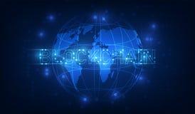 Τεχνολογία Blockchain στο φουτουριστικό υπόβαθρο με το ΝΕ παγκόσμιων χαρτών απεικόνιση αποθεμάτων
