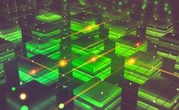 Τεχνολογία Blockchain Φουτουριστικό αγρόκτημα μεταλλείας Αφηρημένη έννοια κυβερνοχώρου στοκ φωτογραφία