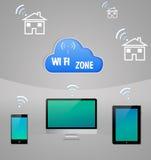 Τεχνολογία WI-Fi σύννεφων Διαδικτύου υπολογιστών Στοκ Φωτογραφίες