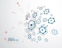Τεχνολογική διανυσματική ταπετσαρία εφαρμοσμένης μηχανικής που γίνεται με hexagons, γ Στοκ Εικόνες