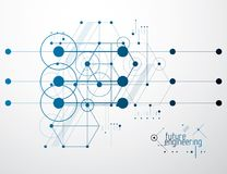 Τεχνολογική διανυσματική ταπετσαρία εφαρμοσμένης μηχανικής που γίνεται με τους κύκλους και Στοκ Φωτογραφία