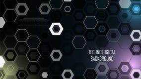 Τεχνολογικό υπόβαθρο από hexagons και τους αριθμούς Στοκ Φωτογραφίες