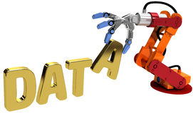 Τεχνολογία αποθήκευσης στοιχείων Ιστού χεριών ρομπότ Στοκ φωτογραφία με δικαίωμα ελεύθερης χρήσης