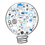 Τεχνολογία ιδεών λαμπτήρων συμβόλων διανυσμάτων Στοκ εικόνες με δικαίωμα ελεύθερης χρήσης
