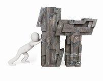 Τεχνολογία πληροφοριών, έννοια ΤΠ με τα ωθώντας σύμβολα ατόμων Στοκ φωτογραφία με δικαίωμα ελεύθερης χρήσης