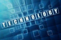 Τεχνολογία στους μπλε φραγμούς γυαλιού Στοκ φωτογραφία με δικαίωμα ελεύθερης χρήσης
