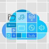 Τεχνολογία σύννεφων αποθήκευσης MEDIA Στοκ Εικόνες