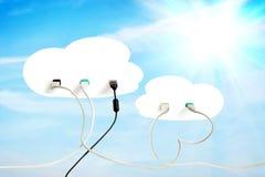 Τεχνολογία σύννεφων Σύγχρονες αποθήκευση στοιχείων και ανταλλαγή πληροφοριών στοκ φωτογραφία