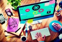 Τεχνολογία Concep σύνδεσης ομαδικής εργασίας βιομηχανίας λειτουργίας ομάδας Στοκ Εικόνες