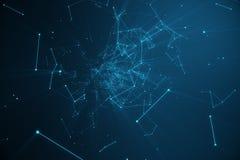 Τεχνολογική φουτουριστική μορφή σύνδεσης, μπλε δίκτυο σημείων, αφηρημένο υπόβαθρο, μπλε υπόβαθρο, έννοια του δικτύου Στοκ Εικόνες