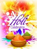 Τεύχος, ιπτάμενο ή έμβλημα για τον εορτασμό Holi Στοκ Φωτογραφίες