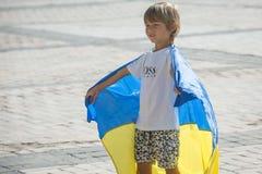 Τελετές που αφιερώνονται στην ημέρα της κρατικής σημαίας της Ουκρανίας Στοκ Φωτογραφία