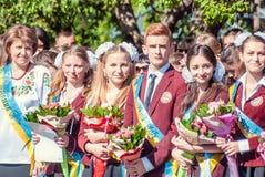 Τελευταίο κουδουνιών γυμνάσιο 14 29 βαθμού Lutsk 11ο 05 ηλιόλουστη θερινή ημέρα του 2015 Στοκ Εικόνα