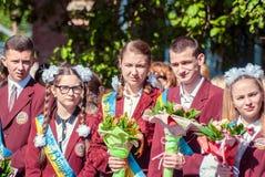 Τελευταίο κουδουνιών γυμνάσιο 14 29 βαθμού Lutsk 11ο 05 ηλιόλουστη θερινή ημέρα του 2015 Στοκ φωτογραφίες με δικαίωμα ελεύθερης χρήσης