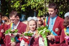 Τελευταίο κουδουνιών γυμνάσιο 14 29 βαθμού Lutsk 11ο 05 ηλιόλουστη θερινή ημέρα του 2015 Στοκ φωτογραφία με δικαίωμα ελεύθερης χρήσης