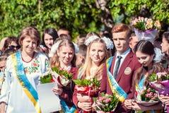 Τελευταίο κουδουνιών γυμνάσιο 14 29 βαθμού Lutsk 11ο 05 ηλιόλουστη θερινή ημέρα του 2015 Στοκ Φωτογραφία