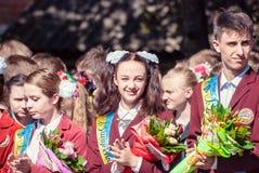 Τελευταίο κουδουνιών γυμνάσιο 14 29 βαθμού Lutsk 11ο 05 ηλιόλουστη θερινή ημέρα του 2015 Στοκ εικόνες με δικαίωμα ελεύθερης χρήσης