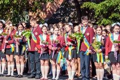 Τελευταίο κουδουνιών γυμνάσιο 14 29 βαθμού Lutsk 11ο 05 ηλιόλουστη θερινή ημέρα του 2015 Στοκ Εικόνες