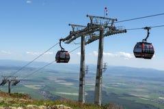 Τελεφερίκ στα βουνά υψηλό Tatras Στοκ Φωτογραφία