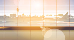Τελικός εσωτερικός έλεγχος αναχώρησης αιθουσών αερολιμένων περιμένοντας μέσα απεικόνιση αποθεμάτων