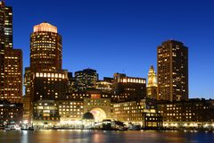 Τελωνείο της Βοστώνης τη νύχτα, ΗΠΑ Στοκ φωτογραφία με δικαίωμα ελεύθερης χρήσης